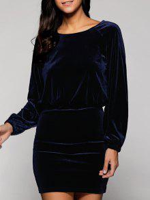 Velvet Blouson Dress - Bleu Foncé M
