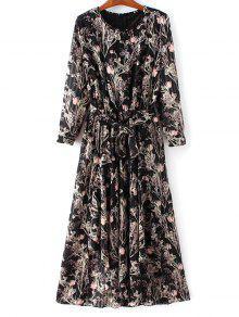 Chiffon Belted Floral Dress - Black L