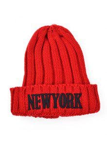 Buy Embroidery New York Knitted Hat - RED