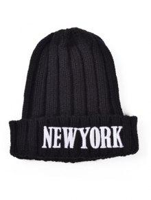Buy Embroidery New York Knitted Hat - BLACK