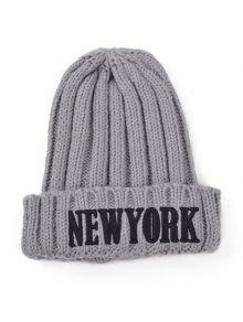 Buy Embroidery New York Knitted Hat - GRAY