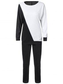 Buy Long Sleeve Color Block Sweatshirt Pants - WHITE/BLACK XL