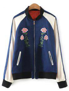 Color Block Floral Jacket - Purplish Blue M