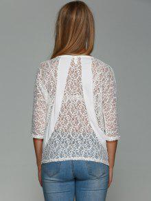 Dos En Dentelle T-shirt - Blanc Xl