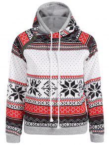 Snowflake Print Double Hooded Inclined Zipper Hoodie - White M