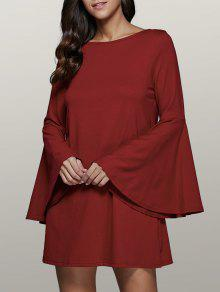 فستان توهج الأكمام سوينغ - احمر غامق M