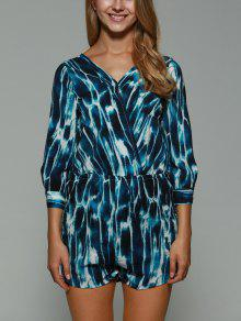 Print Backless Plunging Neck Long Sleeve Playsuit - Xs