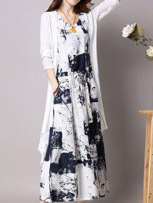 فستان طباعة مرونة الخصر مع كارديجان - ازرق غامق L