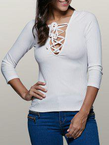 Lace-Up Stretchy Plunging Neck T-Shirt - White S