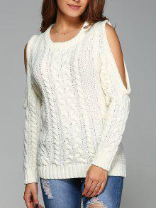 Cable Knit Cold Shoulder Pullover Sweater - Off-white M