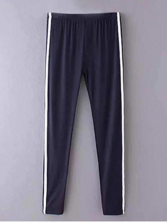 Side Stripe Skinny Casual Hosen - Cadetblue Eine Größe