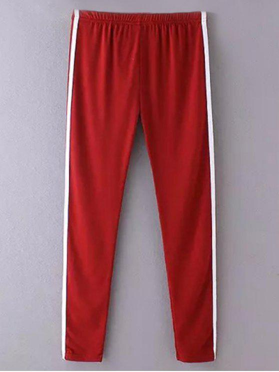 outfits Side Stripe Skinny Casual Pants - WINE RED ONE SIZE