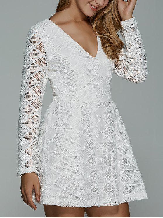 Langes Hülsen-Spitze-Minikleid - Weiß M