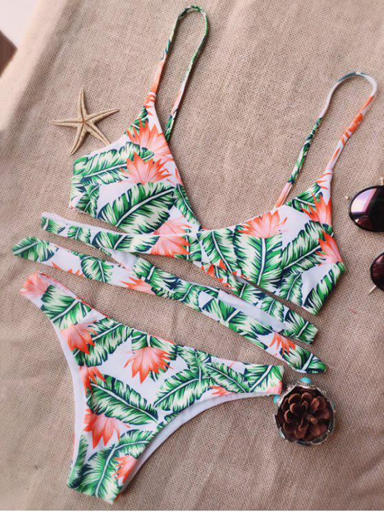 trendy Leaf Print Strappy Bikini - WHITE AND GREEN S