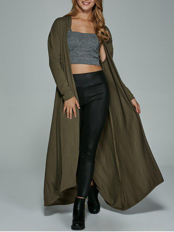 womens Longline Hooded Dust Coat - ARMY GREEN L