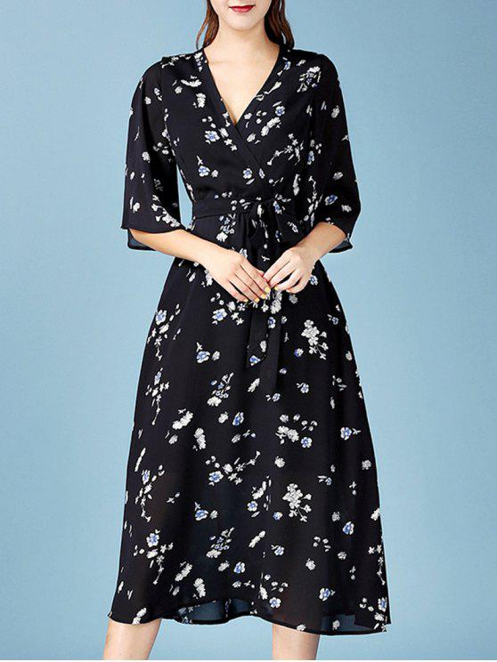 hot V Neck Floral Chiffon Wrap Dress - BLACK L