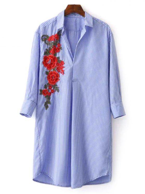 Robe Chemise Tunique Brodée Florale à Rayures - Bleu M