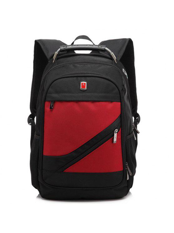 حقيبة الظهر بسحاب معدني نايلون - أحمر