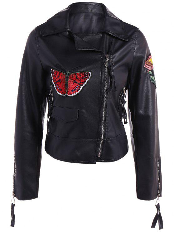 outfits Embroidered Zippers PU Leather Jacket - BLACK S