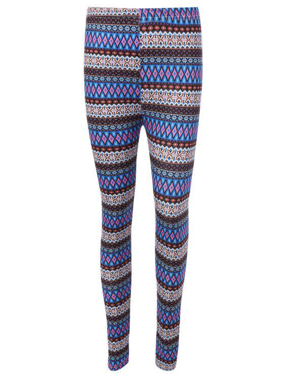 lady Ethnic Printed High Waist Leggings - BLUE ONE SIZE