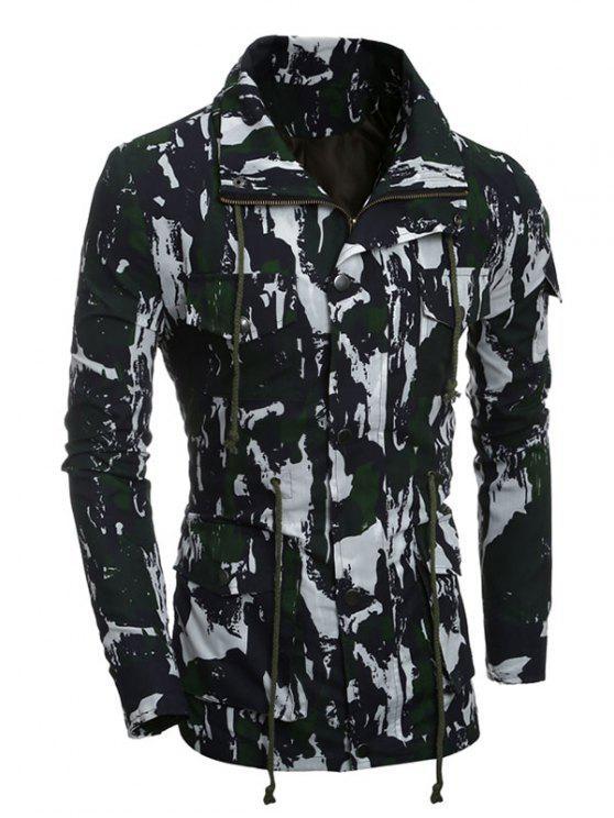 Cappotto Con Coulisse E Multi-Tasche A Camuffamento - verde XL