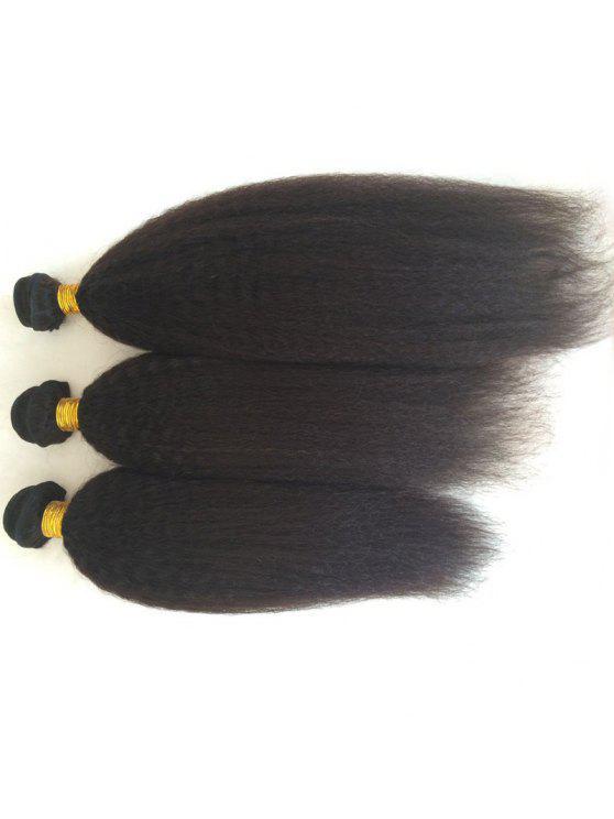 3 PC del color puro recto rizado 5A Remy India Tejidos de pelo - Negro 10Pulgadas*10Pulgada