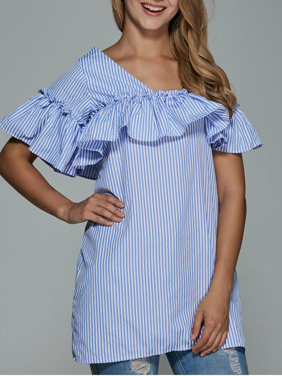 fancy Striped Flounce Ruffles Cold Shoulder Dress - BLUE L