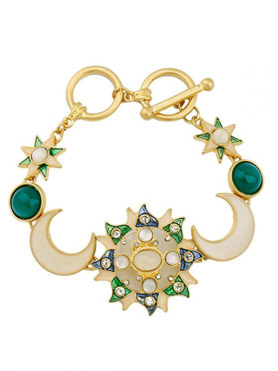 women's Artificial Gem Rhinestone Moon Star Bracelet - GOLDEN