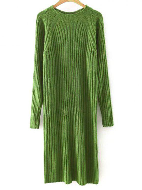 lady Solid Color Round Neck Sweater Dress - BLACKISH GREEN L