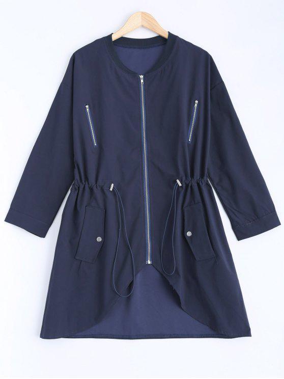 fashion Stand Neck Plus Size Drawstring Coat - CADETBLUE 2XL