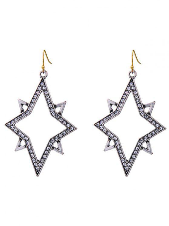Rhinestone brillante estrella pendientes de la forma de la gota - Plata