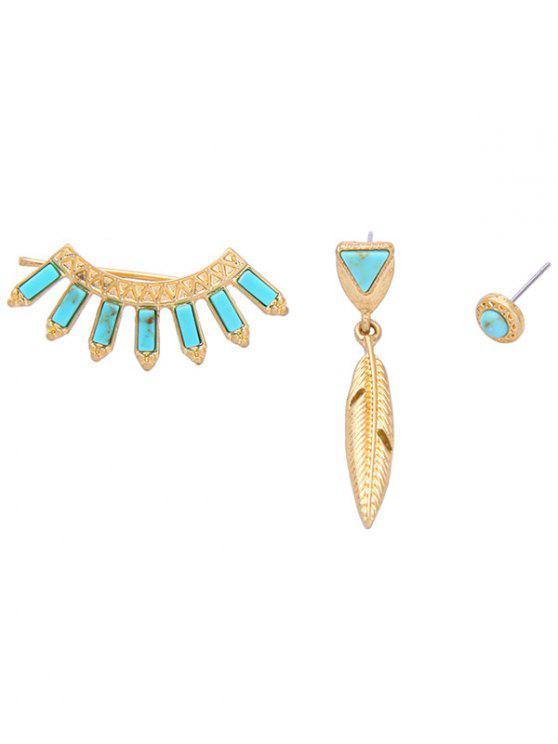 women Asymmetry Fake Sapphire Earrings - SAPPHIRE BLUE