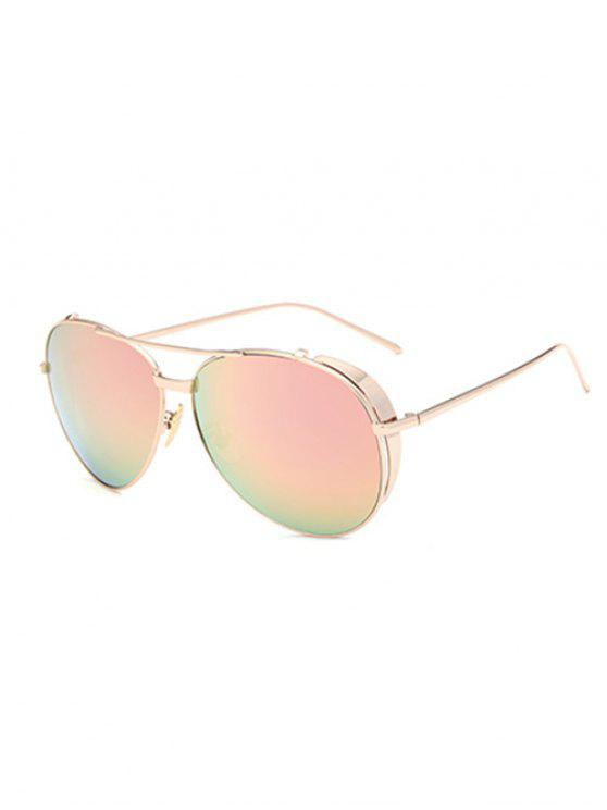 Barra de metal gafas de sol espejadas piloto - Rosa