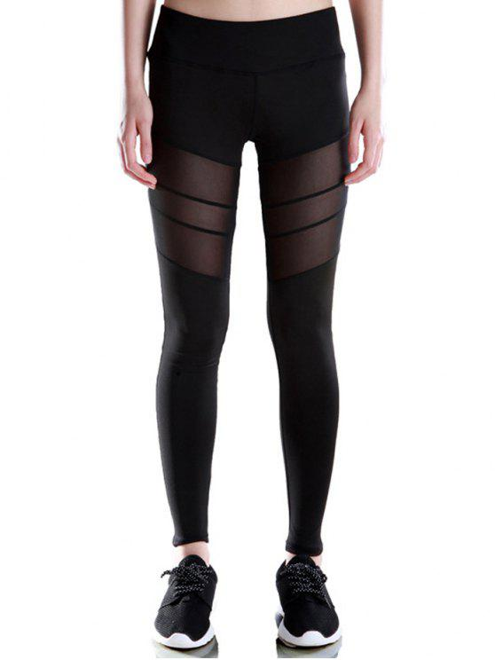 affordable Voile Patched Stretchy Sport Leggings - BLACK L