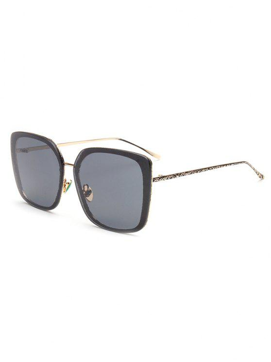 hot Faux Jade Carve Leg Irregular Square Sunglasses - DEEP GRAY
