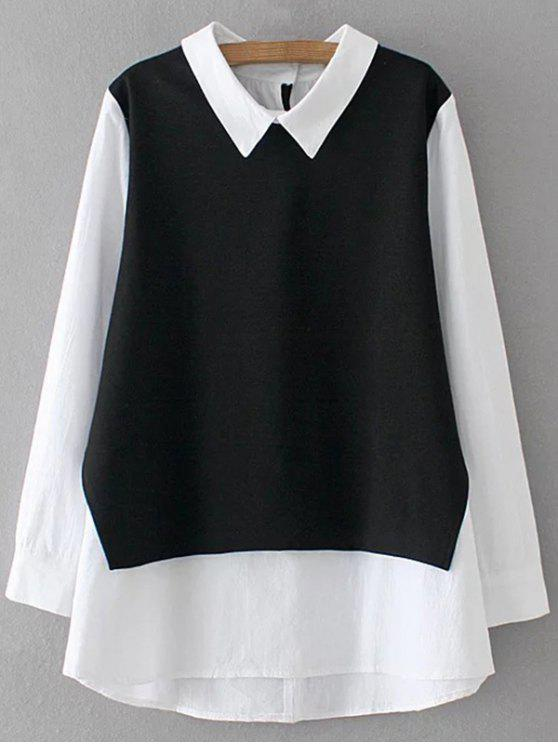 latest Long Sleeve Button Back Top - WHITE AND BLACK XL