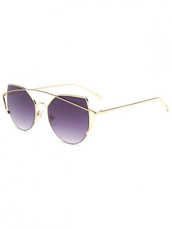 fashion Crossbar Irregular Cat Eye Sunglasses - DEEP PURPLE