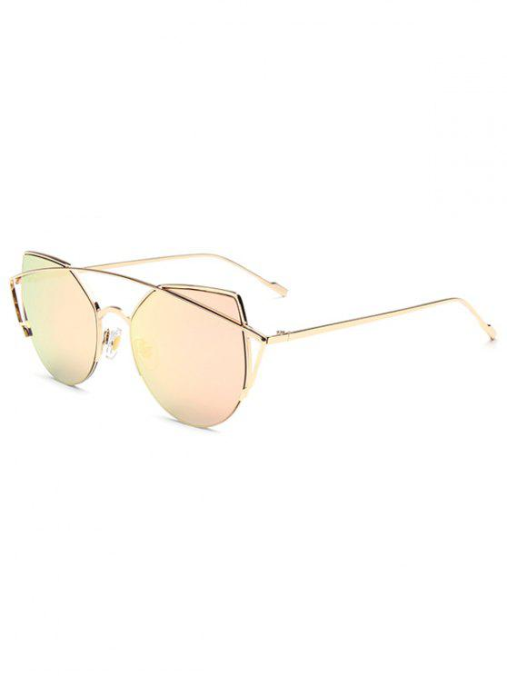 fancy Crossbar Irregular Cat Eye Mirrored Sunglasses - PINK