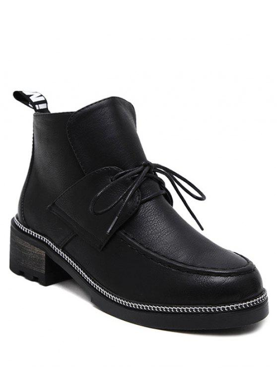 online Chain Chunky Heel Tie Up Ankle Boots - BLACK 37