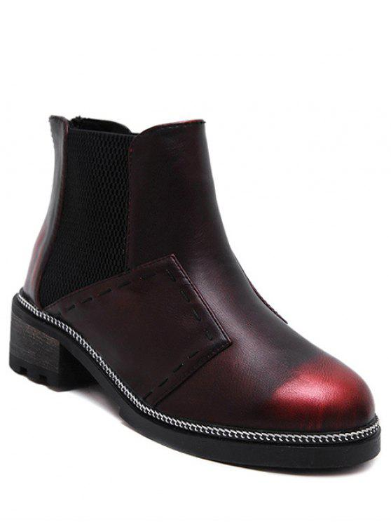 hot Elastic Band Stitching Chain Ankle Boots - WINE RED 39