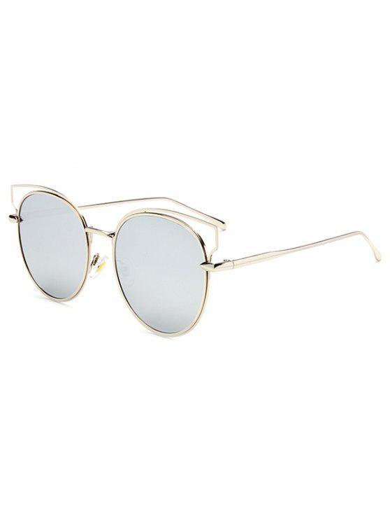 Recortable metal del ojo de gato gafas de sol de espejo - Plata