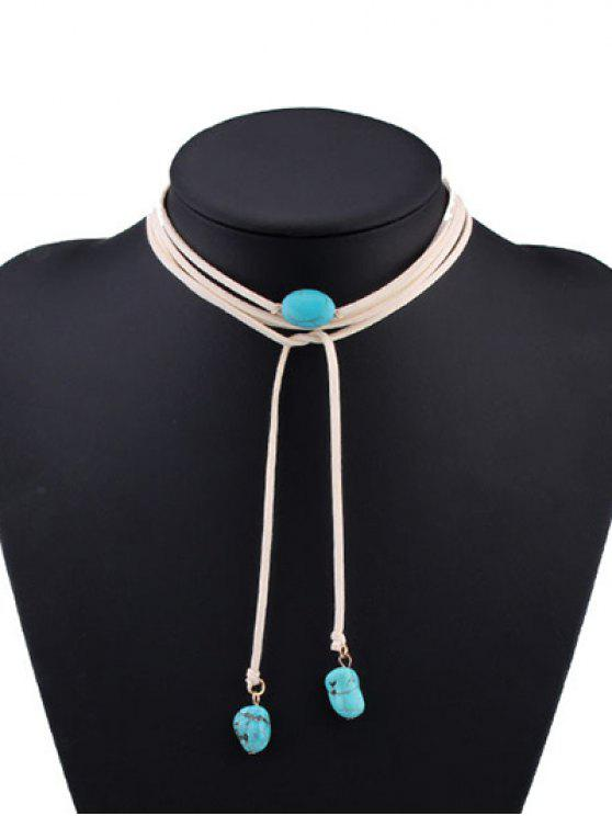 outfit Faux Turquoise Tie Choker - WHITE