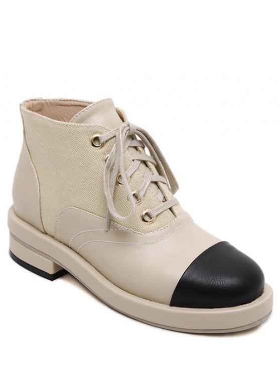 womens Two-Tone Tie Up Splicing Ankle Boots - APRICOT 38