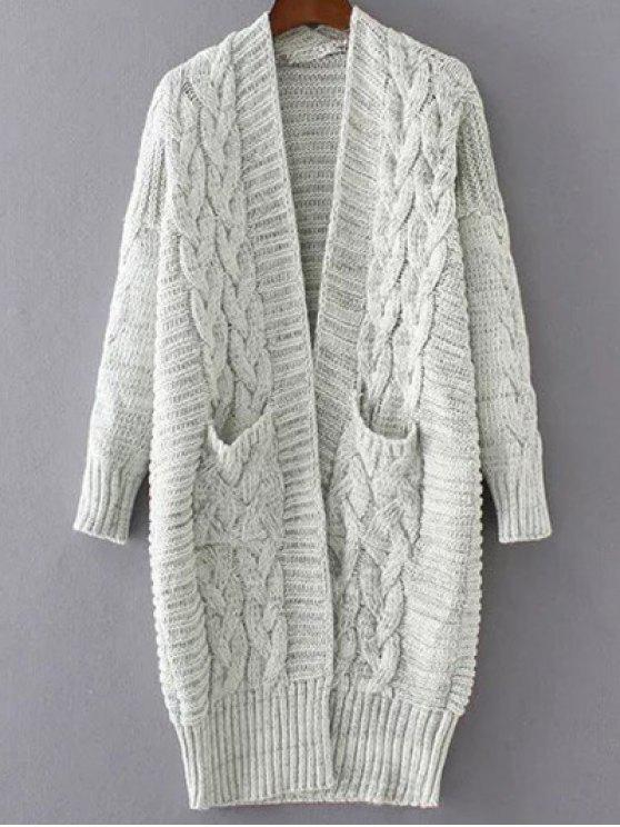 fancy Chunky Cable Knit Longline Cardigan - OFF-WHITE ONE SIZE