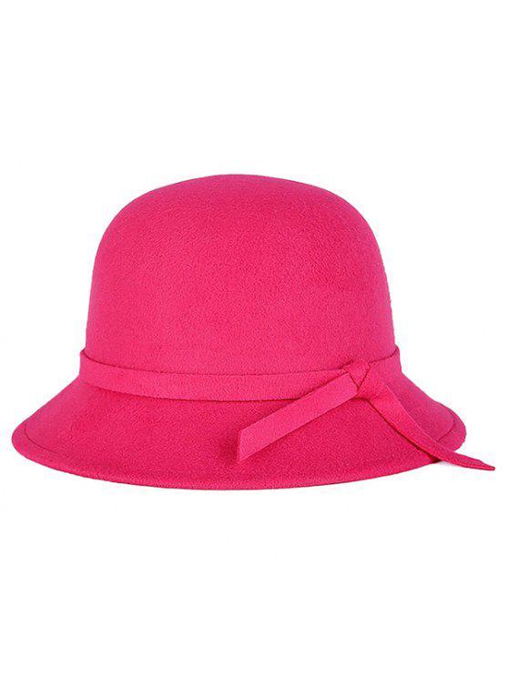 latest Winter Band Felt Fedora Hat - ROSE RED