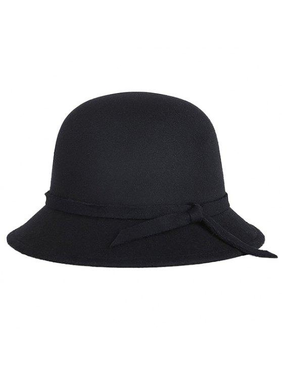 fancy Winter Band Felt Fedora Hat - BLACK