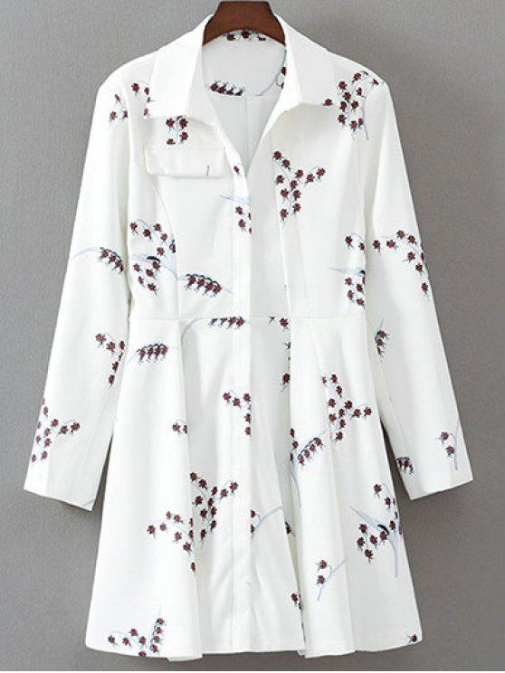 unique Printed Long Sleeve Skater Dress - WHITE M