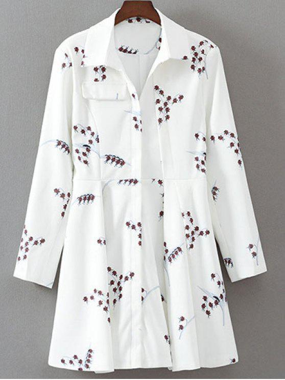 unique Printed Long Sleeve Skater Dress - WHITE M
