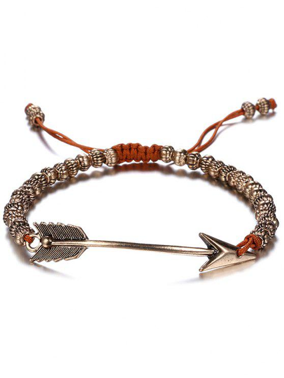 hot Retro Woven Rope Arrow Bracelet - COFFEE AND GOLDEN