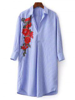Striped Floral Embroidered Tunic Shirt Dress - Blue L